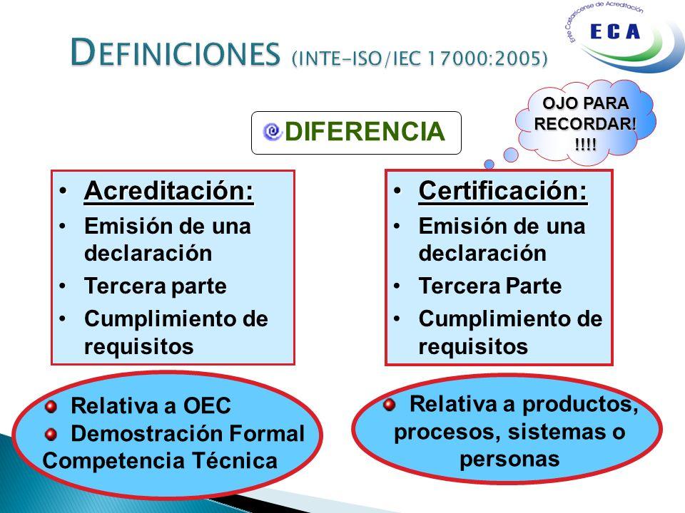 OJO PARA RECORDAR! !!!! Acreditación:Acreditación: Emisión de una declaración Tercera parte Cumplimiento de requisitos Certificación:Certificación: Em