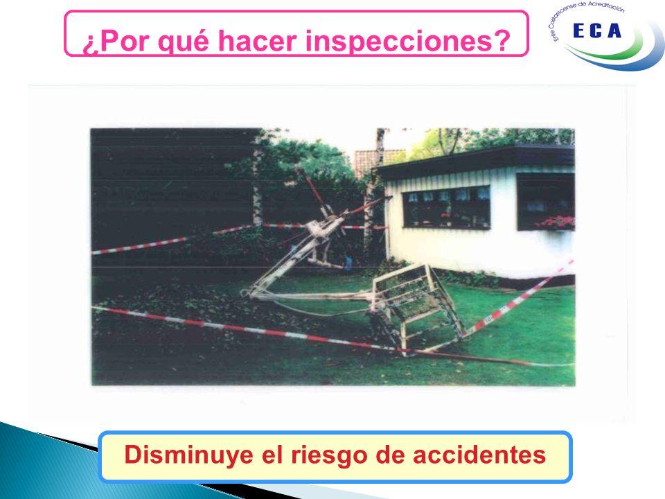 ¿Por qué hacer inspecciones? Disminuye el riesgo de accidentes