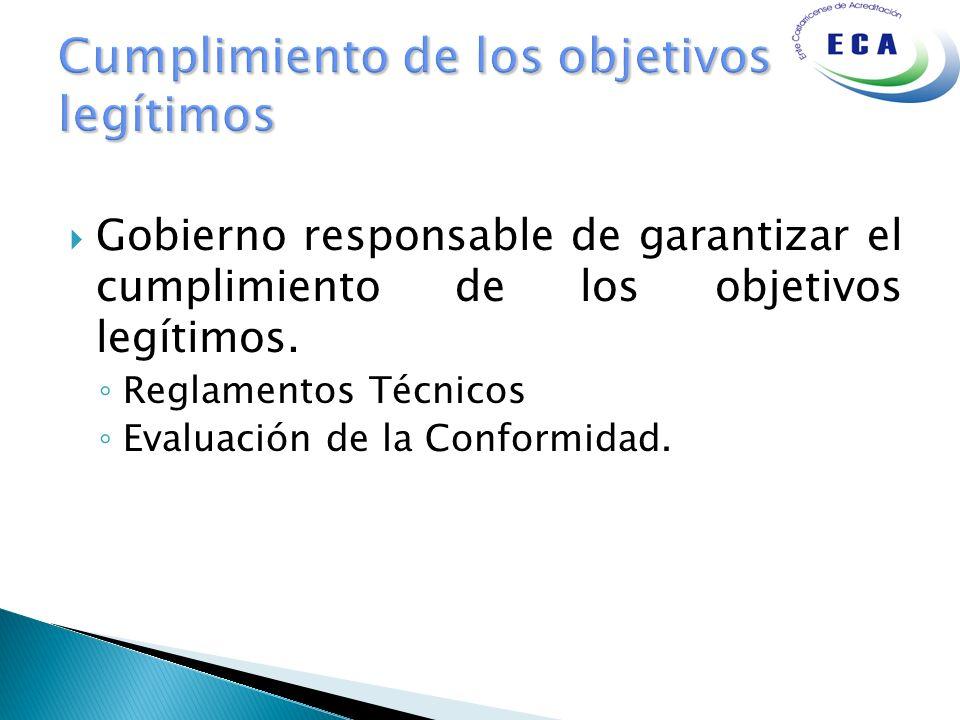 Gobierno responsable de garantizar el cumplimiento de los objetivos legítimos. Reglamentos Técnicos Evaluación de la Conformidad.