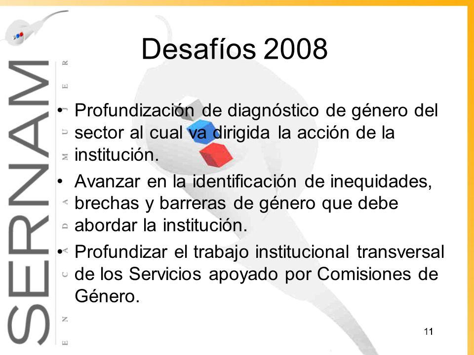 Desafíos 2008 Profundización de diagnóstico de género del sector al cual va dirigida la acción de la institución.
