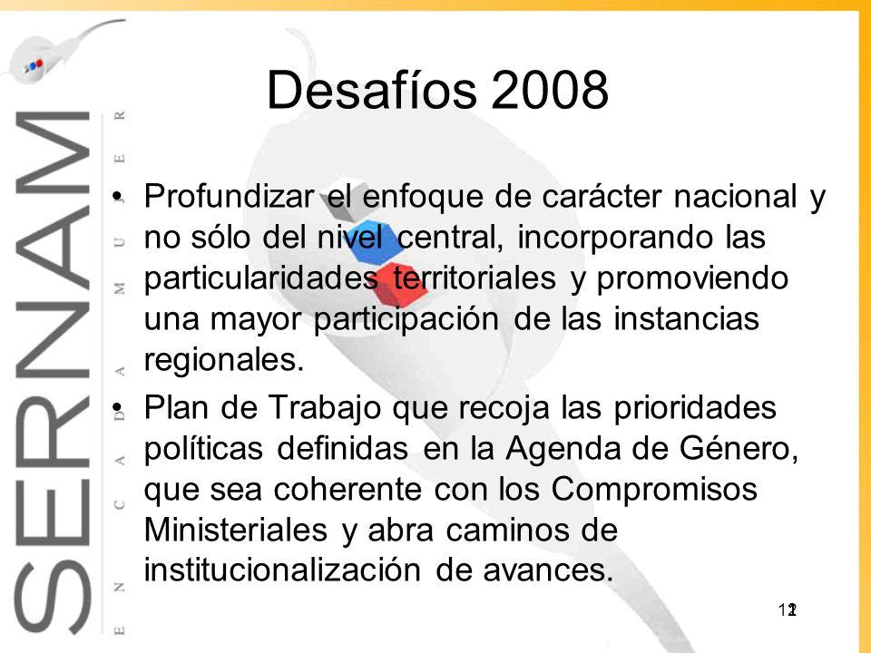 Desafíos 2008 Profundizar el enfoque de carácter nacional y no sólo del nivel central, incorporando las particularidades territoriales y promoviendo una mayor participación de las instancias regionales.