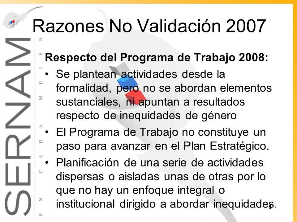 Razones No Validación 2007 Respecto del Programa de Trabajo 2008: Se plantean actividades desde la formalidad, pero no se abordan elementos sustanciales, ni apuntan a resultados respecto de inequidades de género El Programa de Trabajo no constituye un paso para avanzar en el Plan Estratégico.