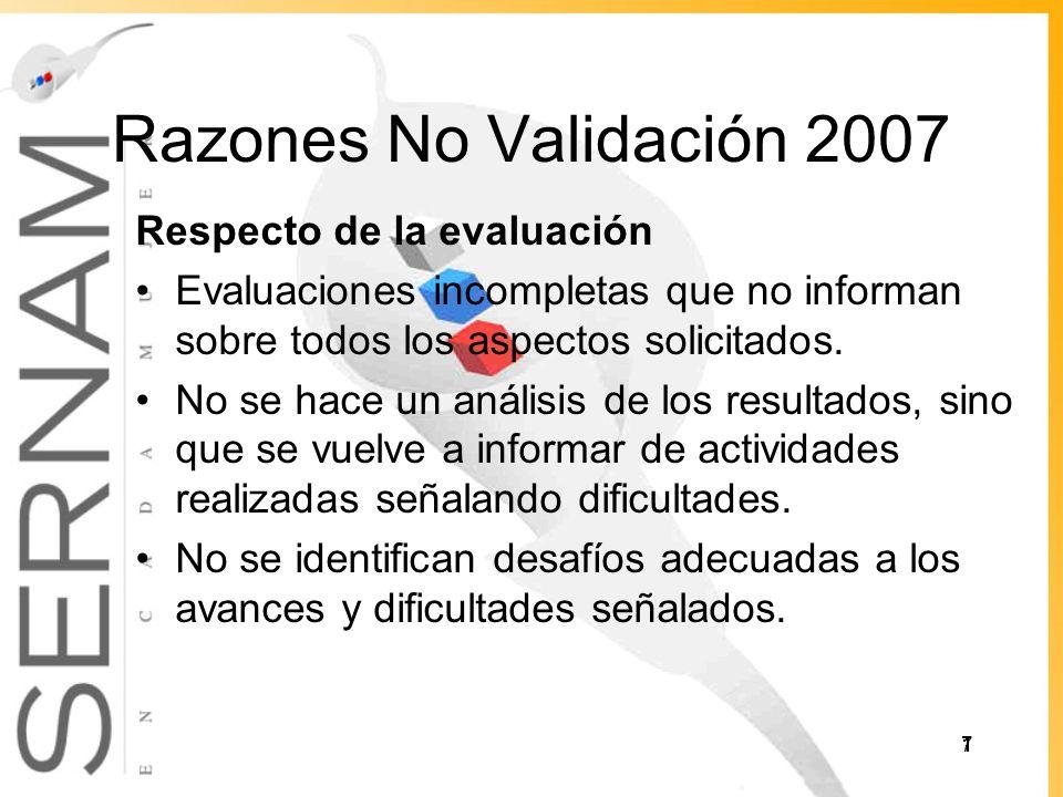 Razones No Validación 2007 Respecto de la evaluación Evaluaciones incompletas que no informan sobre todos los aspectos solicitados.