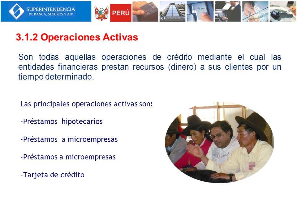 Las principales operaciones activas son: -Préstamos hipotecarios -Préstamos a microempresas -Tarjeta de crédito 3.1.2 Operaciones Activas Son todas aq