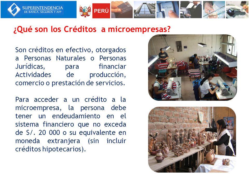 ¿Qué son los Créditos a microempresas? Son créditos en efectivo, otorgados a Personas Naturales o Personas Jurídicas, para financiar Actividades de pr