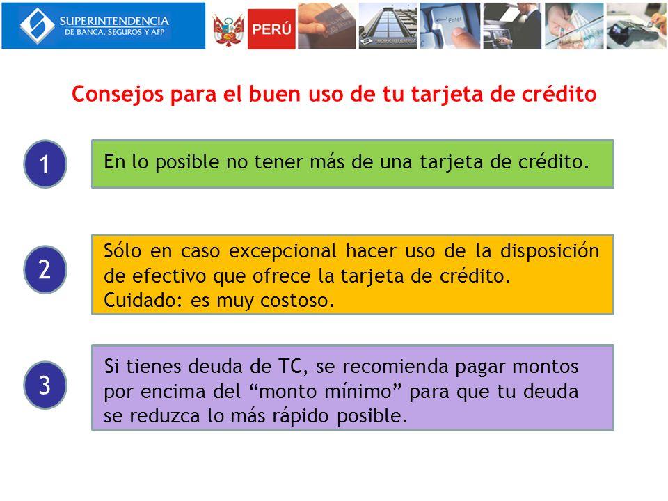 Consejos para el buen uso de tu tarjeta de crédito En lo posible no tener más de una tarjeta de crédito. Sólo en caso excepcional hacer uso de la disp