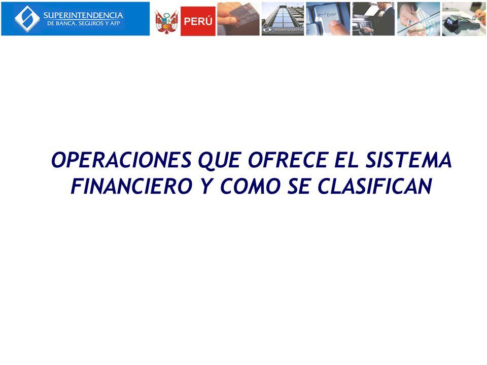 OPERACIONES QUE OFRECE EL SISTEMA FINANCIERO Y COMO SE CLASIFICAN