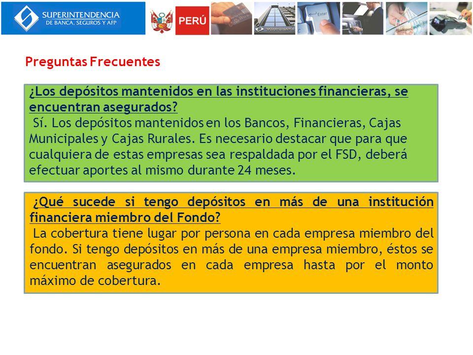 ¿Los depósitos mantenidos en las instituciones financieras, se encuentran asegurados? Sí. Los depósitos mantenidos en los Bancos, Financieras, Cajas M