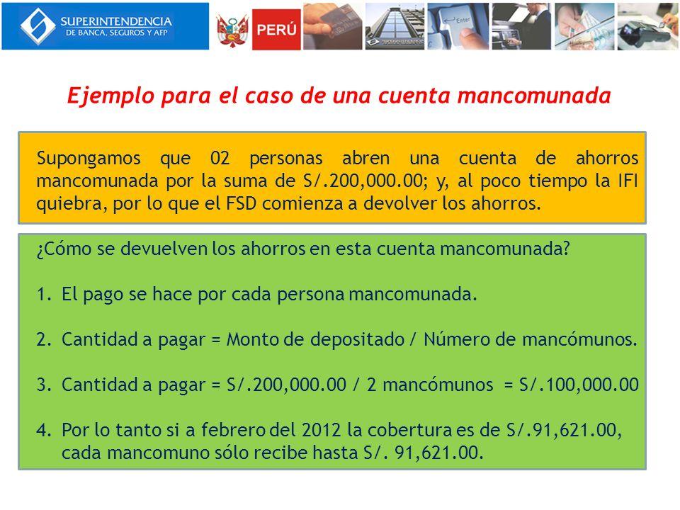 Ejemplo para el caso de una cuenta mancomunada Supongamos que 02 personas abren una cuenta de ahorros mancomunada por la suma de S/.200,000.00; y, al