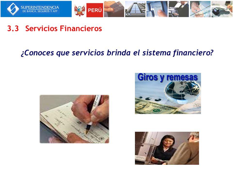 ¿Conoces que servicios brinda el sistema financiero? 3.3Servicios Financieros