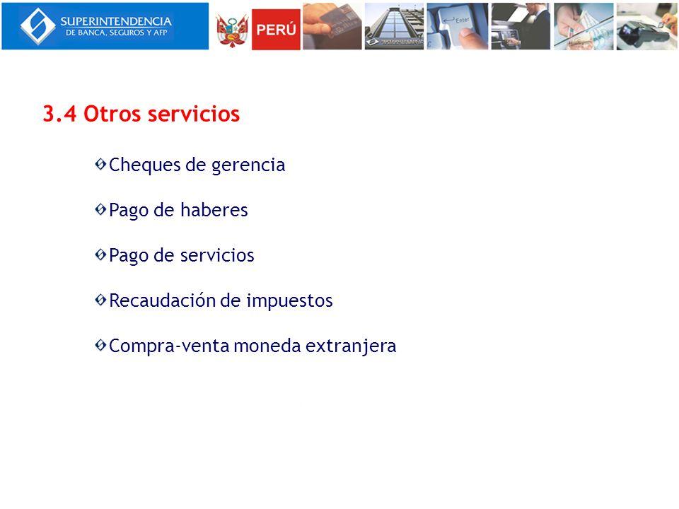 3.4 Otros servicios Cheques de gerencia Pago de haberes Pago de servicios Recaudación de impuestos Compra-venta moneda extranjera