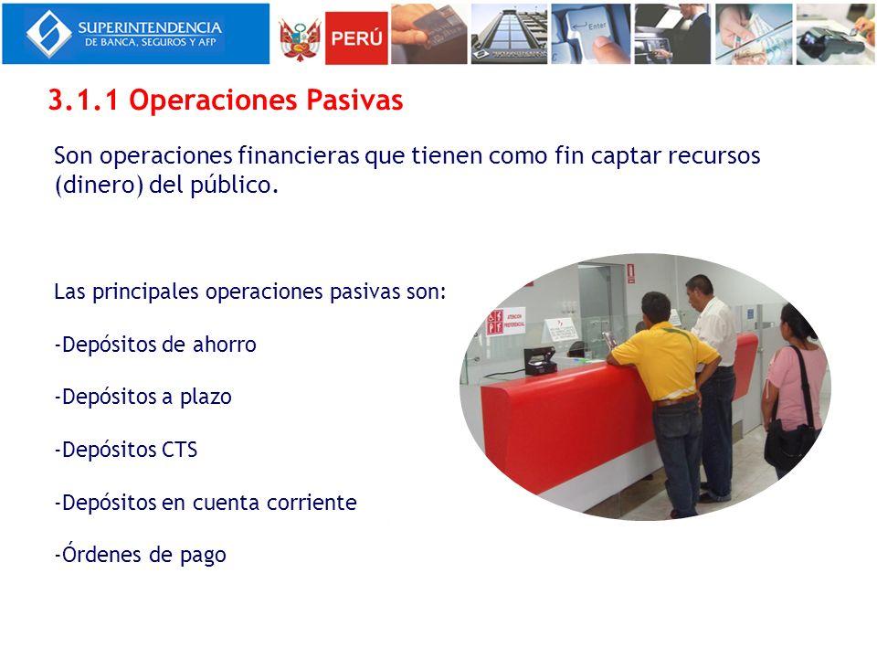 Las principales operaciones pasivas son: -Depósitos de ahorro -Depósitos a plazo -Depósitos CTS -Depósitos en cuenta corriente -Órdenes de pago 3.1.1