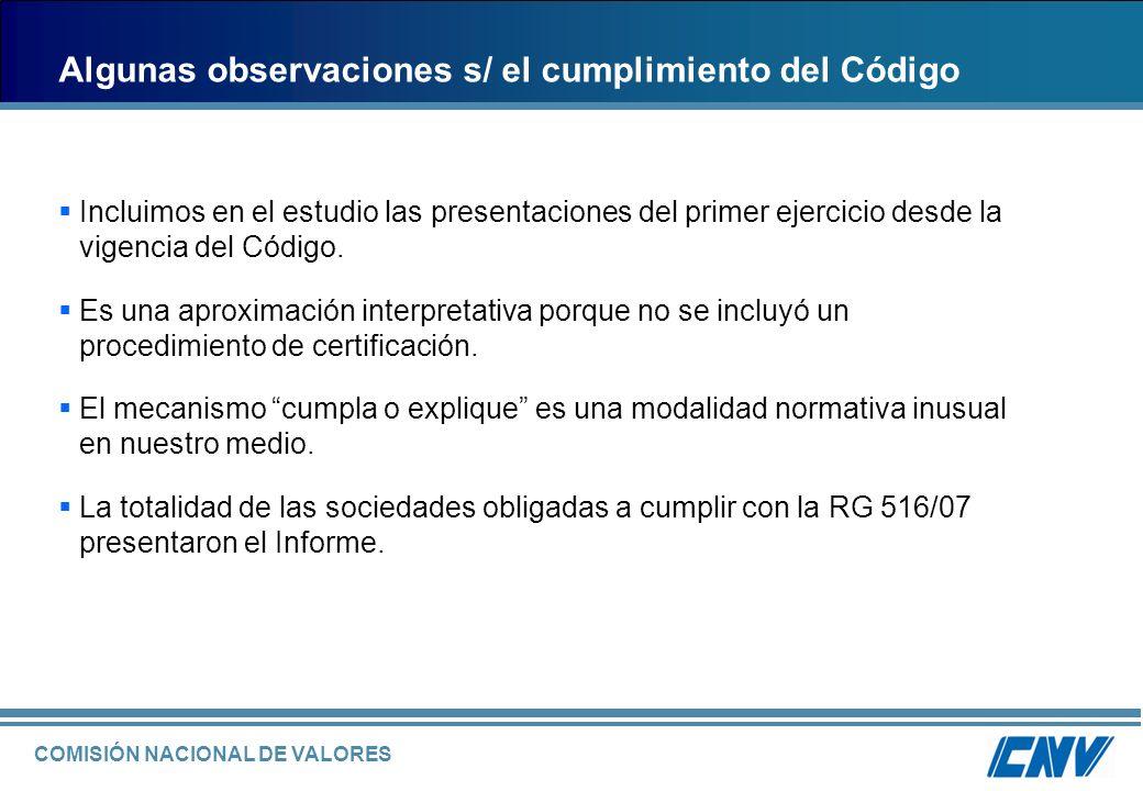 COMISIÓN NACIONAL DE VALORES Gobierno Societario en Argentina.