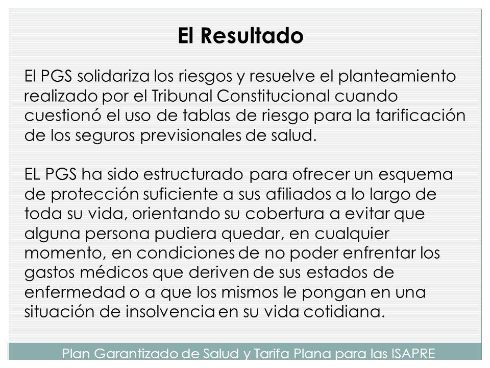 Plan Garantizado de Salud y Tarifa Plana para las ISAPRE Fue posible diseñar un Plan Garantizado de Salud (PGS) que se financia con primas idénticas para todos los beneficiarios del sistema ISAPRE, independientemente de sus riesgos de enfermar.