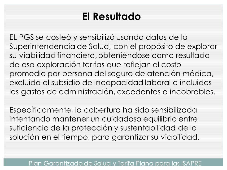 Plan Garantizado de Salud y Tarifa Plana para las ISAPRE El PGS incluiría tres tipos de cobertura: La cobertura GES, tal cual está definida hoy día para todas las patologías vigentes y futuras.