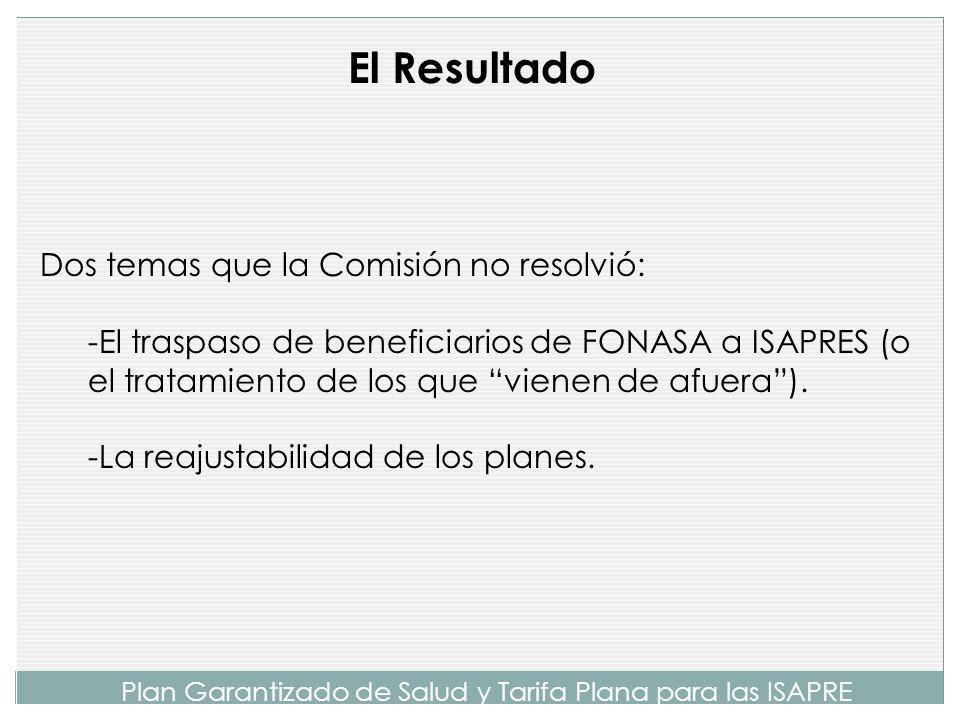 Plan Garantizado de Salud y Tarifa Plana para las ISAPRE A partir de simulaciones efectuadas, se pudo llegar a que un PGS con las características desc