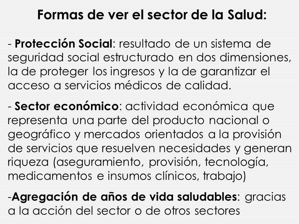 Formas de ver el sector de la Salud: - Protección Social : resultado de un sistema de seguridad social estructurado en dos dimensiones, la de proteger los ingresos y la de garantizar el acceso a servicios médicos de calidad.