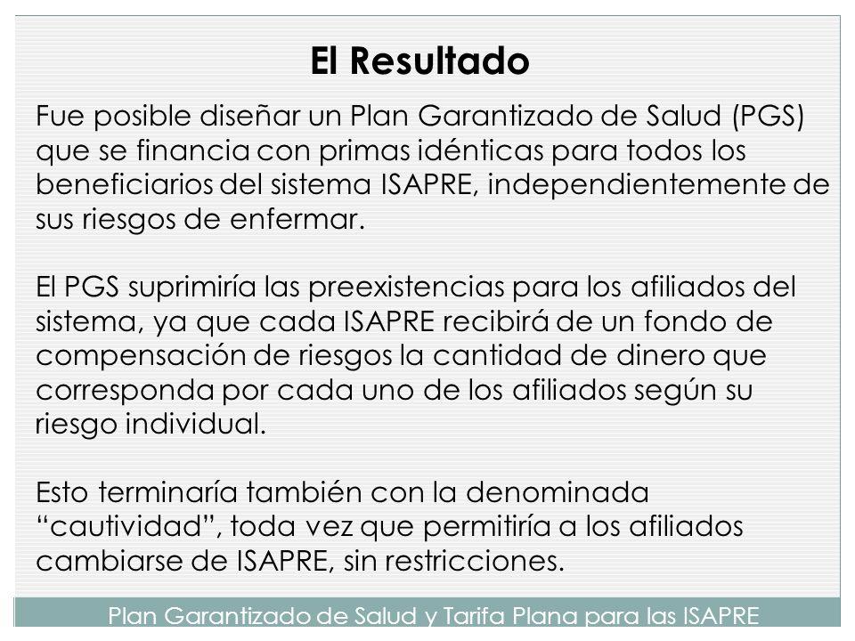 Plan Garantizado de Salud y Tarifa Plana para las ISAPRE No fue objeto de esta comisión el análisis del financiamiento de todo el sistema de salud, au