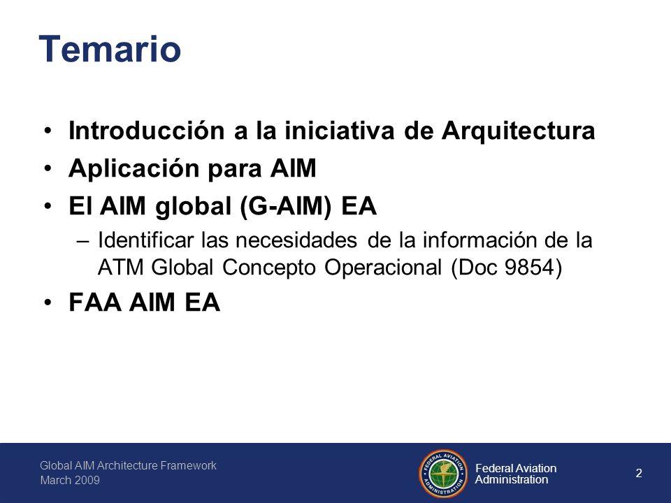 2 Federal Aviation Administration Global AIM Architecture Framework March 2009 Temario Introducción a la iniciativa de Arquitectura Aplicación para AIM El AIM global (G-AIM) EA –Identificar las necesidades de la información de la ATM Global Concepto Operacional (Doc 9854) FAA AIM EA