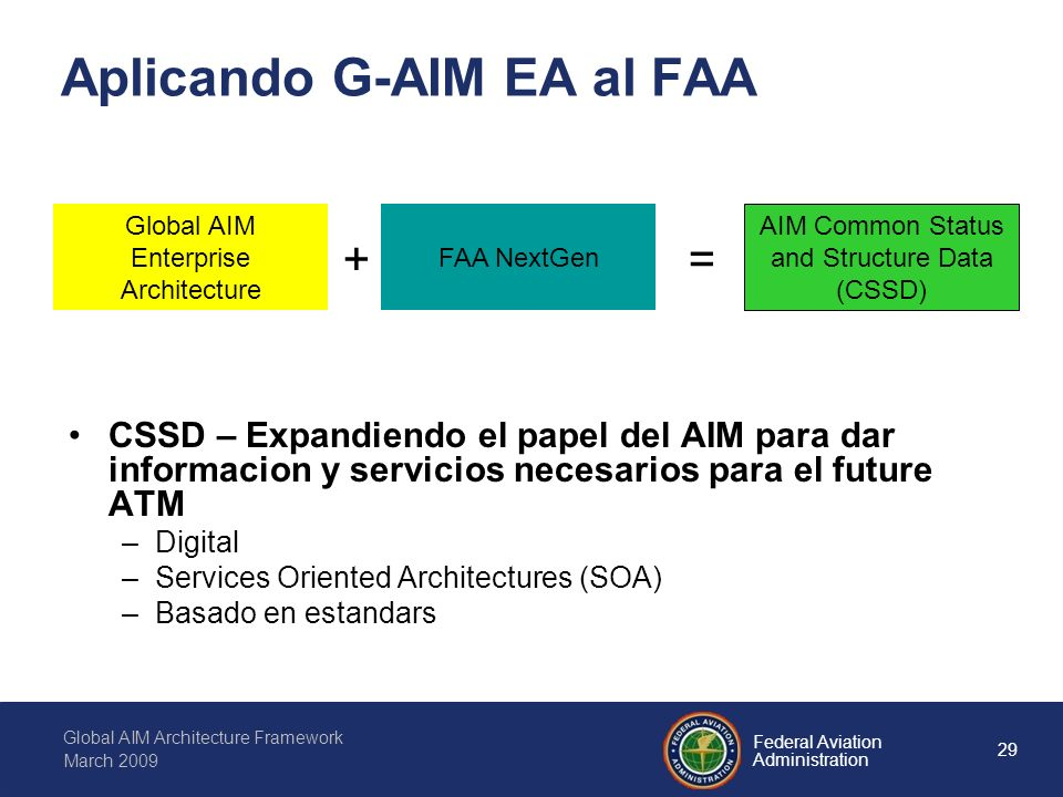 29 Federal Aviation Administration Global AIM Architecture Framework March 2009 Aplicando G-AIM EA al FAA CSSD – Expandiendo el papel del AIM para dar informacion y servicios necesarios para el future ATM –Digital –Services Oriented Architectures (SOA) –Basado en estandars Global AIM Enterprise Architecture FAA NextGen AIM Common Status and Structure Data (CSSD) +=