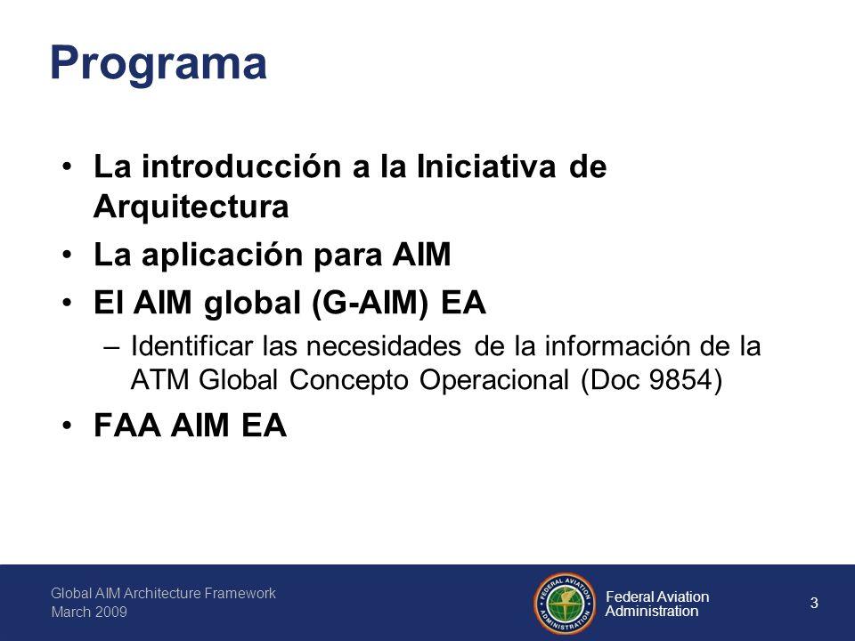 14 Federal Aviation Administration Global AIM Architecture Framework March 2009 El estatus del Annexo 15 Permite operaciones de vuelo Permite la informacion necesaria para soportar la navegacion aerea internacinonal –Agrupa informacion estatica (AIP, AIC, Charts) –Provee informes dinamicos (NOTAM, SNOWTAM, BIRDTAM, ASHTAM) –Informa a los pilotos (PIB) ATMAIS