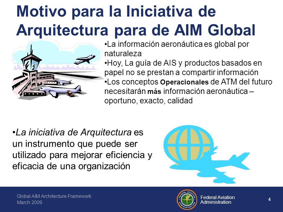 15 Federal Aviation Administration Global AIM Architecture Framework March 2009 La vision del ATM Global Provee una vision holístico para cooperativa y colavoracion en un medio de cooperacion, donde las expectativas he intereses de todos los mienbros del ATM son balaceadas para conseguir un nivel de igualdad La gestión de informacion nos permite el acreditamiento, la calidad y la rapidez usada para soportar las operaciones del ATM From ICAO Doc 9854 Global ATM Operational Concept (1.9.1) From ICAO Doc 9854 Global ATM Operational Concept (2.15)