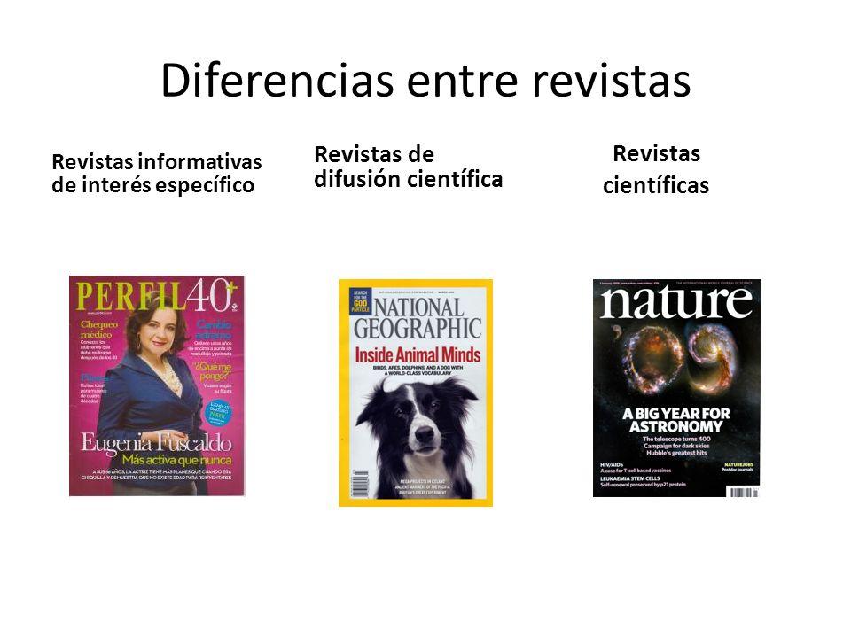 Revistas informativas de interés específico Revistas de difusión científica Revistas científicas