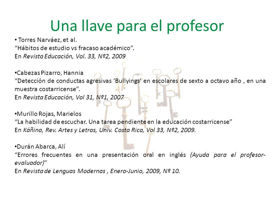 Una llave para el profesor Torres Narváez, et al. Hábitos de estudio vs fracaso académico. En Revista Educación, Vol. 33, Nº2, 2009 Cabezas Pizarro, H