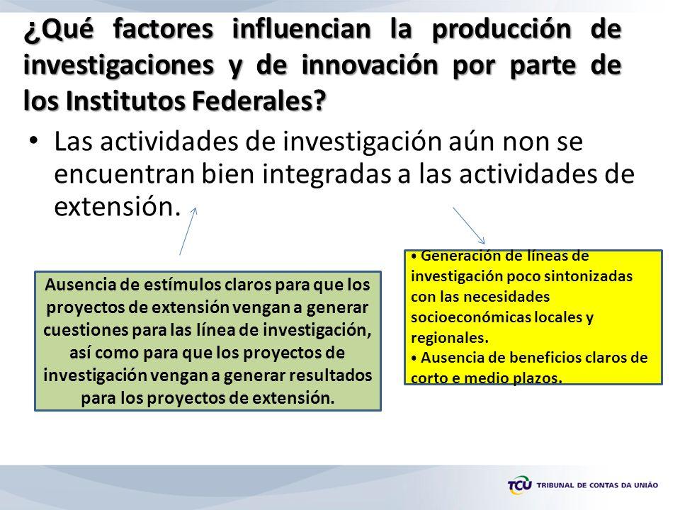 ¿ Qué factores influencian la producción de investigaciones y de innovación por parte de los Institutos Federales.