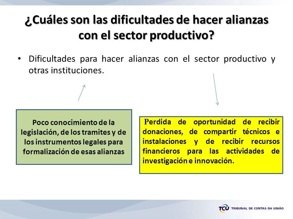 ¿ Cuáles son las dificultades de hacer alianzas con el sector productivo.