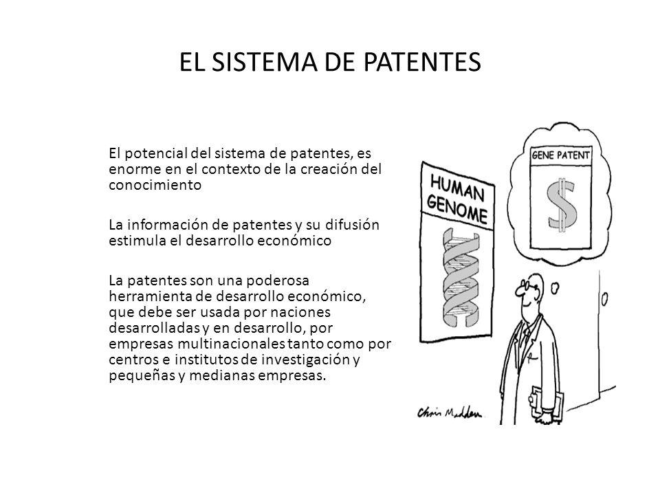 EL SISTEMA DE PATENTES El potencial del sistema de patentes, es enorme en el contexto de la creación del conocimiento La información de patentes y su