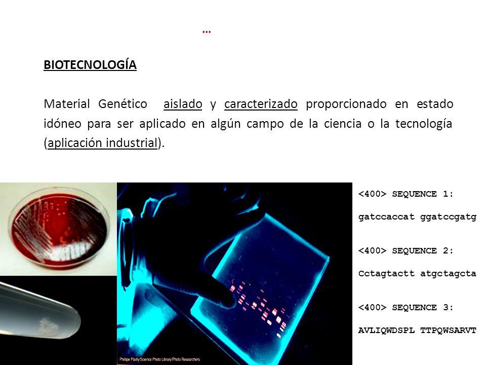 BIOTECNOLOGÍA Material Genético aislado y caracterizado proporcionado en estado idóneo para ser aplicado en algún campo de la ciencia o la tecnología