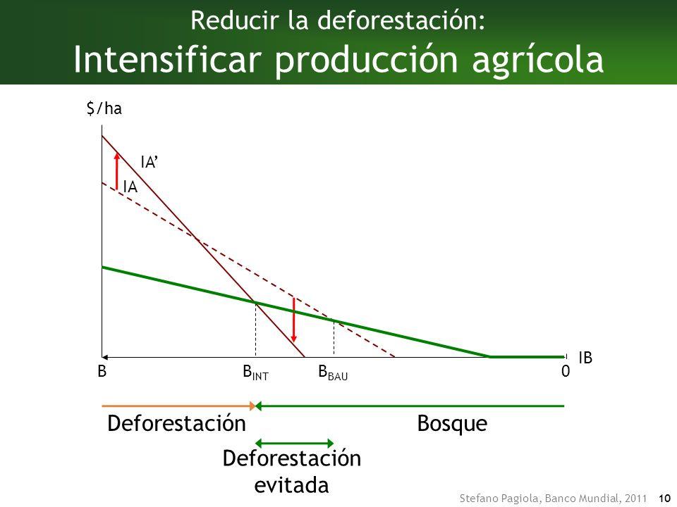 Stefano Pagiola, Banco Mundial, 2011 10 DeforestaciónBosque DeforestaciónBosque Deforestación evitada B INT IA Reducir la deforestación: Intensificar producción agrícola IA IB BB BAU $/ha 0