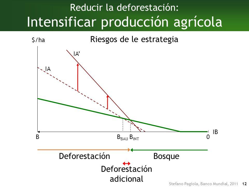 Stefano Pagiola, Banco Mundial, 2011 12 DeforestaciónBosque DeforestaciónBosque Deforestación adicional B INT IA Reducir la deforestación: Intensificar producción agrícola IA IB BB BAU $/ha 0 Riesgos de le estrategia