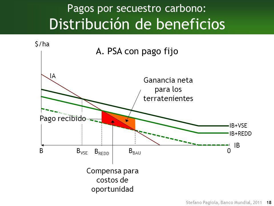 Stefano Pagiola, Banco Mundial, 2011 18 Pagos por secuestro carbono: Distribución de beneficios IA IB BB BAU $/ha 0 B VSE IB+VSE B REDD IB+REDD A.