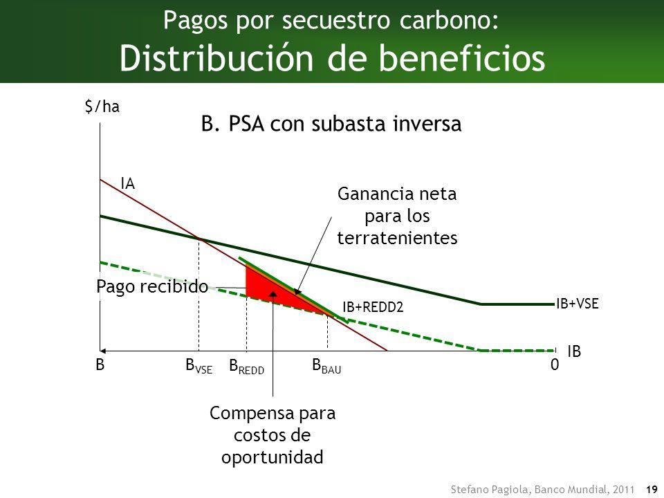 Stefano Pagiola, Banco Mundial, 2011 19 Pagos por secuestro carbono: Distribución de beneficios IA IB BB BAU $/ha 0 B VSE IB+VSE B REDD B.