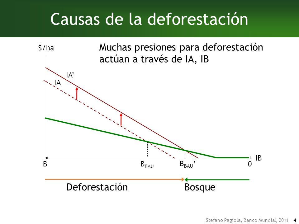 Stefano Pagiola, Banco Mundial, 2011 4 IA B BAU DeforestaciónBosqueDeforestaciónBosque Causas de la deforestación IA IB BB BAU $/ha 0 Muchas presiones para deforestación actúan a través de IA, IB