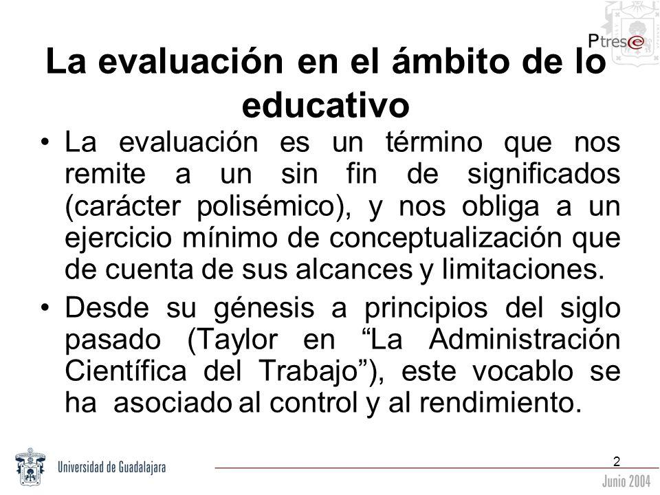 2 La evaluación en el ámbito de lo educativo La evaluación es un término que nos remite a un sin fin de significados (carácter polisémico), y nos obli