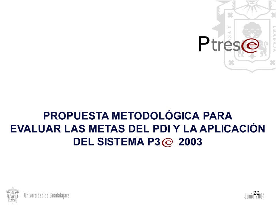 22 PROPUESTA METODOLÓGICA PARA EVALUAR LAS METAS DEL PDI Y LA APLICACIÓN DEL SISTEMA P3 2003