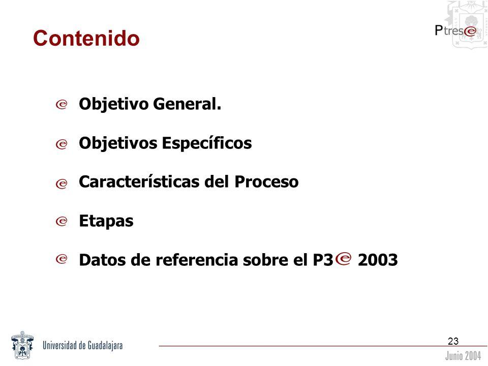 23 Contenido Objetivo General. Objetivos Específicos Características del Proceso Etapas Datos de referencia sobre el P3 2003