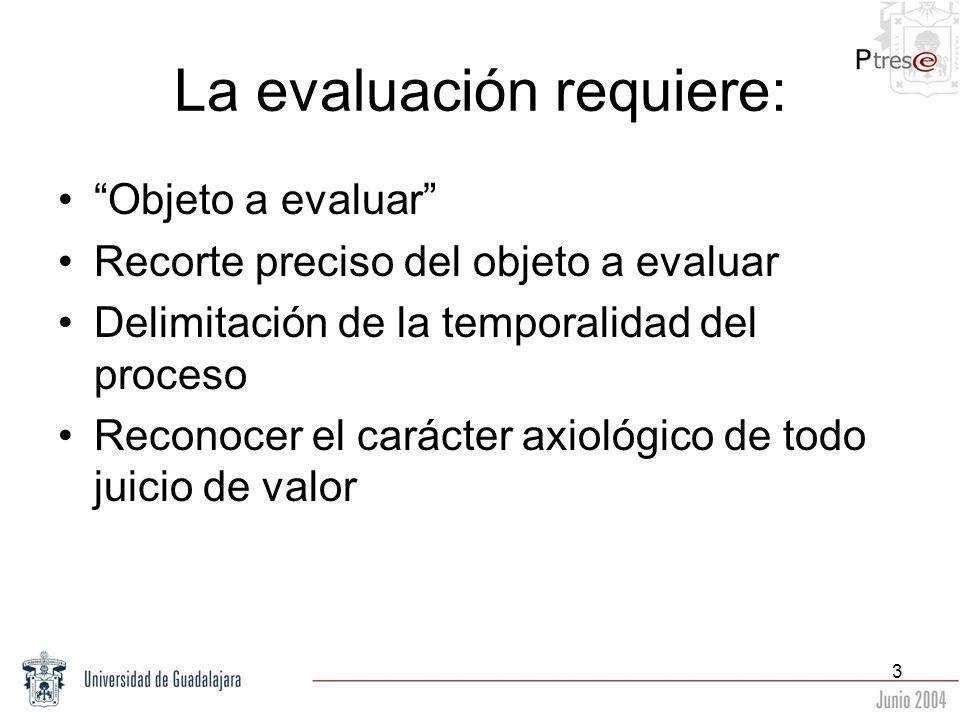 3 La evaluación requiere: Objeto a evaluar Recorte preciso del objeto a evaluar Delimitación de la temporalidad del proceso Reconocer el carácter axio