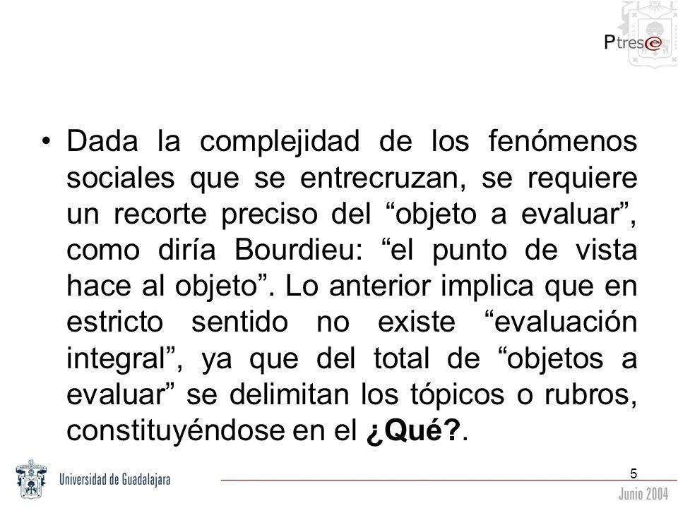 5 Dada la complejidad de los fenómenos sociales que se entrecruzan, se requiere un recorte preciso del objeto a evaluar, como diría Bourdieu: el punto
