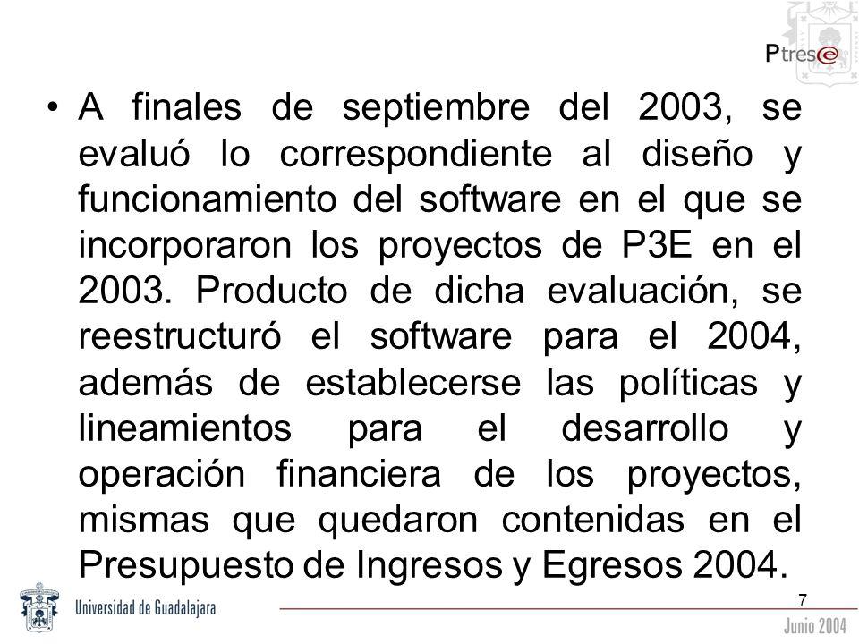 7 A finales de septiembre del 2003, se evaluó lo correspondiente al diseño y funcionamiento del software en el que se incorporaron los proyectos de P3