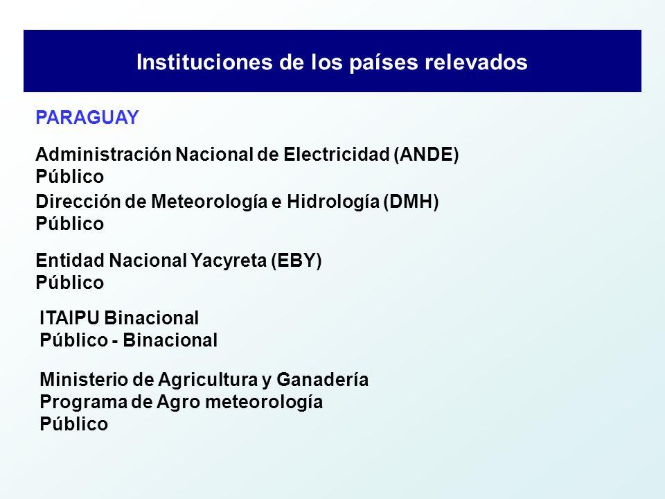 Resumen de los Datos Básicos PaísesCantidad de Instituciones Bolivia1 Brasil1 Paraguay5 Uruguay1 TOTALES8