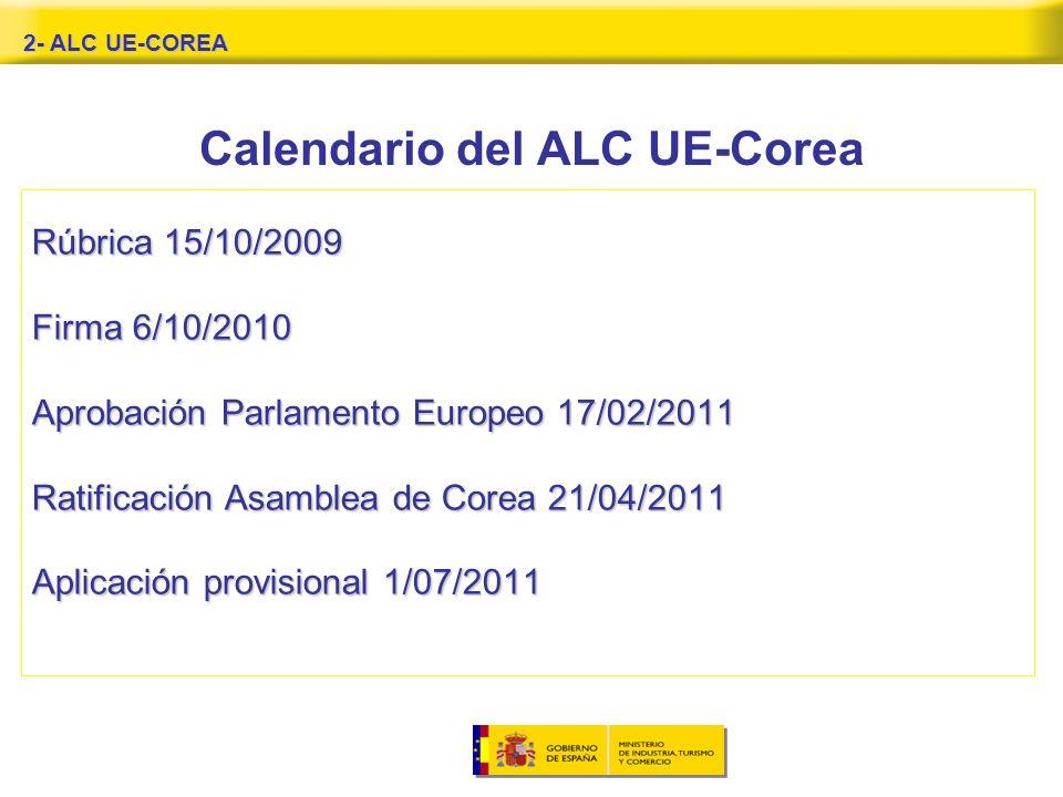 2- ALC UE-COREA Calendario del ALC UE-Corea Rúbrica 15/10/2009 Firma 6/10/2010 Aprobación Parlamento Europeo 17/02/2011 Ratificación Asamblea de Corea 21/04/2011 Aplicación provisional 1/07/2011