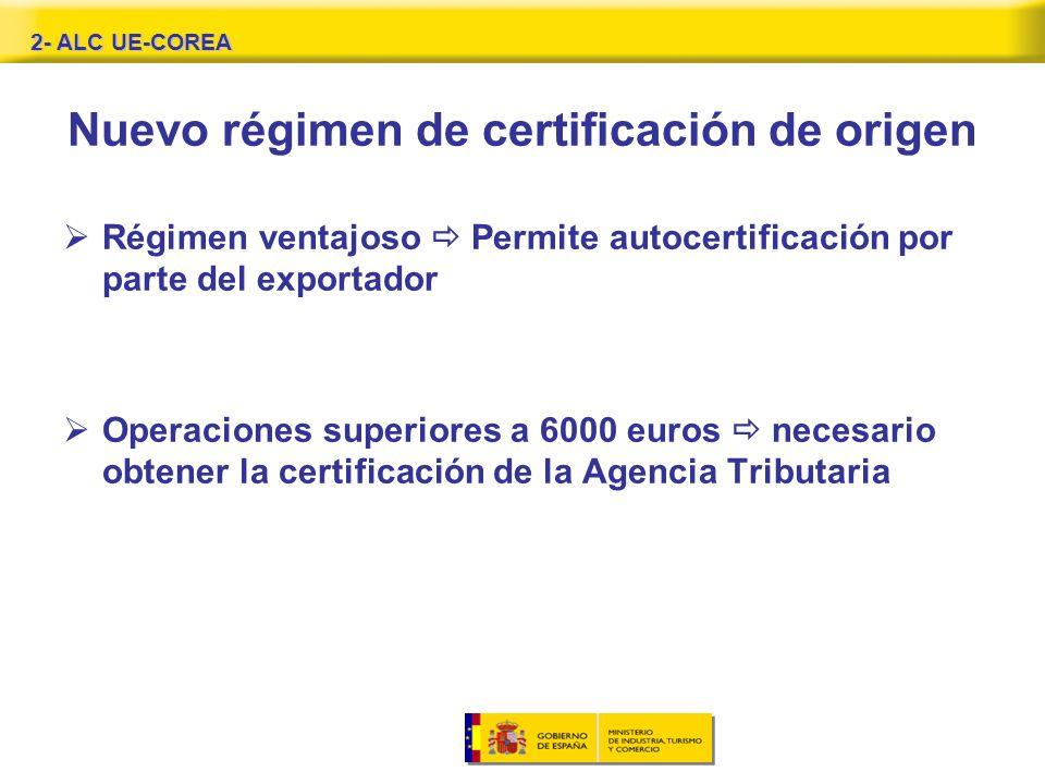 Nuevo régimen de certificación de origen Régimen ventajoso Permite autocertificación por parte del exportador Operaciones superiores a 6000 euros necesario obtener la certificación de la Agencia Tributaria 2- ALC UE-COREA