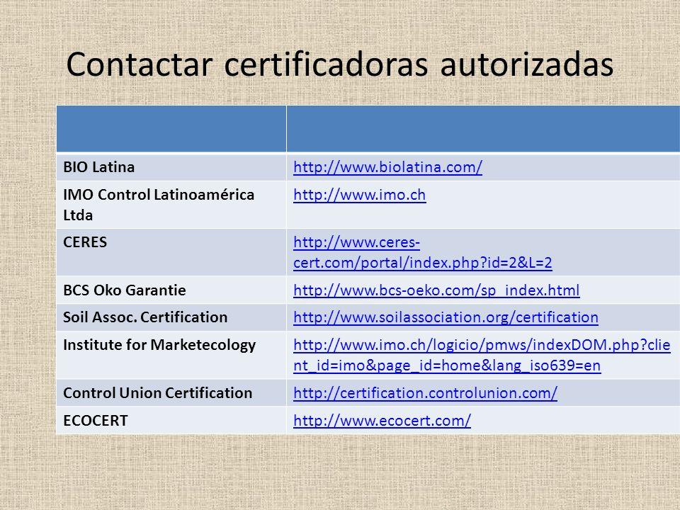 Contactar certificadoras autorizadas BIO Latinahttp://www.biolatina.com/ IMO Control Latinoamérica Ltda http://www.imo.ch CEREShttp://www.ceres- cert.