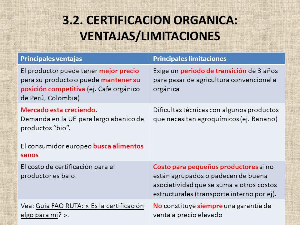 3.2. CERTIFICACION ORGANICA: VENTAJAS/LIMITACIONES Principales ventajasPrincipales limitaciones El productor puede tener mejor precio para su producto