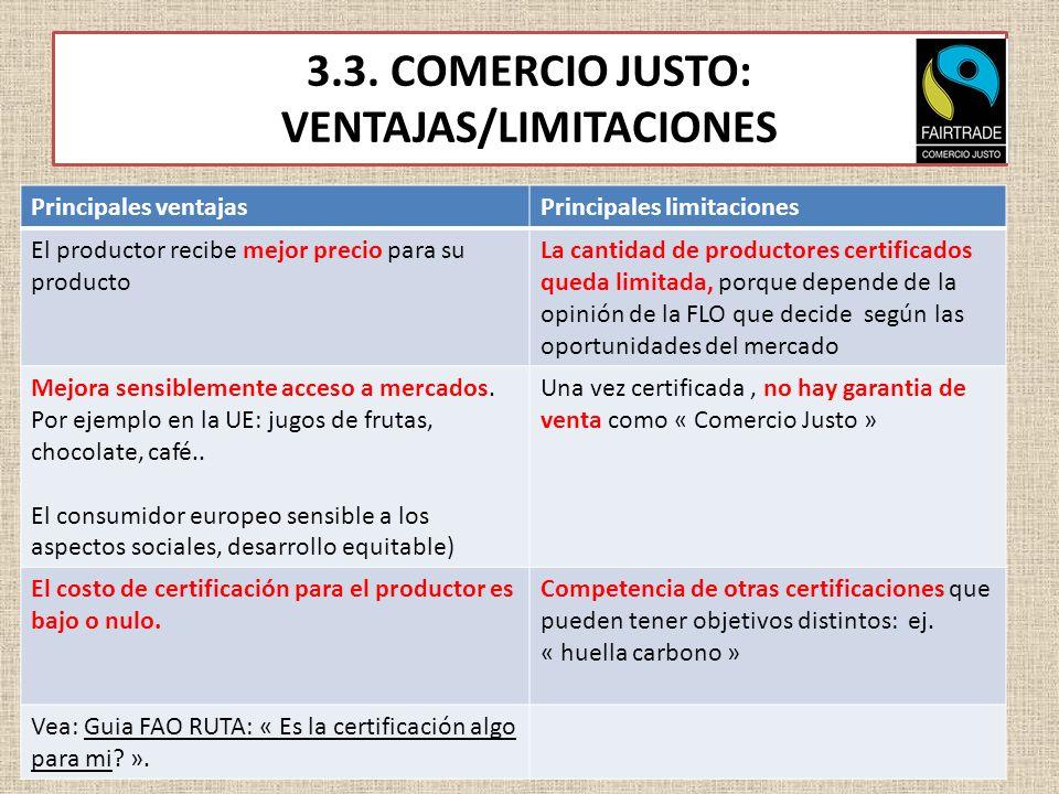 3.3. COMERCIO JUSTO: VENTAJAS/LIMITACIONES Principales ventajasPrincipales limitaciones El productor recibe mejor precio para su producto La cantidad
