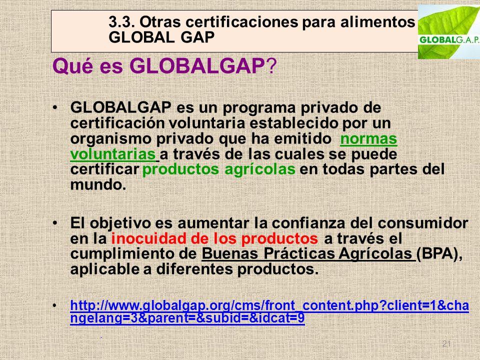 3.3. Otras certificaciones para alimentos GLOBAL GAP Qué es GLOBALGAP? GLOBALGAP es un programa privado de certificación voluntaria establecido por un